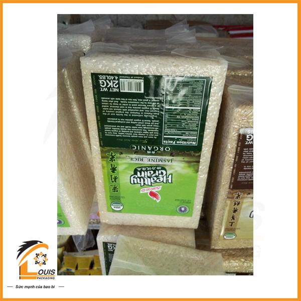 Bao bì gạo 2kg chất liệu PA/PE hút chân không