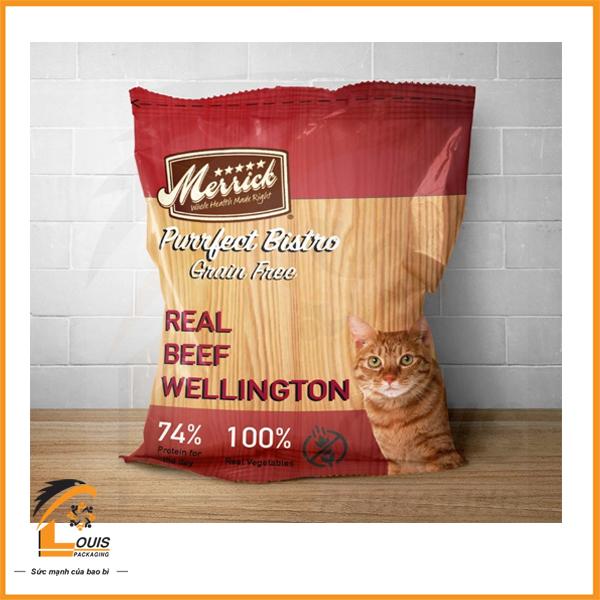 Bao bì đựng thức ăn cho mèo, kiểu dáng túi hàn lưng giữa