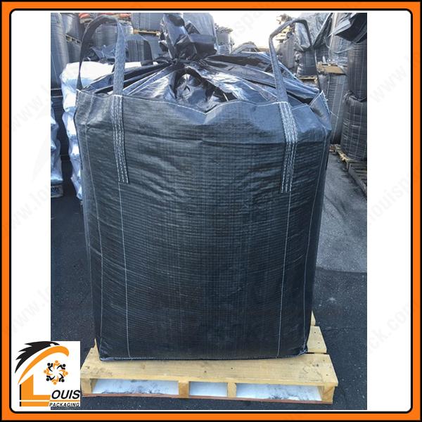 Bao jumbo nắp trùm đựng than. Kiểu dáng miệng ống nạp hoặc nắp trùm được ứng dụng phổ biến cho bao jumbo đựng than