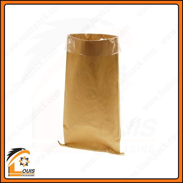 Bao bì giấy kraft đựng vữa thường được lồng thêm một túi PE để ngăn cách sản phẩm, chống thấm, chống ẩm ướt