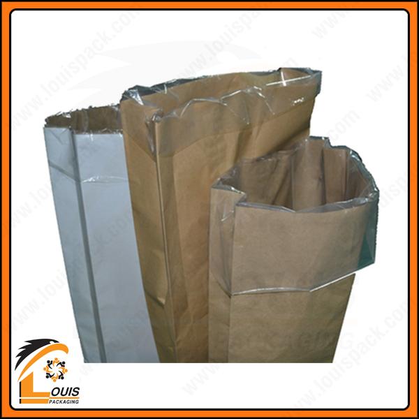 Bao giấy kraft đựng bột mì luôn được lồng PE bên trong để chống xì bột.